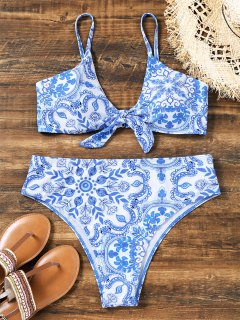 Knotted Porcelain High Cut Plus Size Bikini - Blue And White 3xl