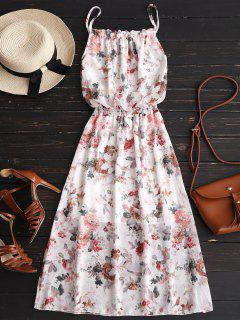 Rüschen Blumendruck Chiffon Cami Kleid - Weiß S