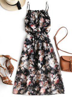 Ruffles Floral Print Chiffon Cami Dress - Black M