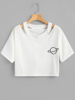 T-shirt Court Découpé Imprimé Planète  - Blanc S