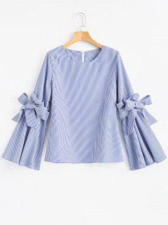 Striped Ruffles Flare Sleeve Blouse - Blue L