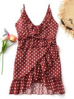 Mini Vestido De Volantes Con Lunares En Niveles - Rojo Ladrillo L