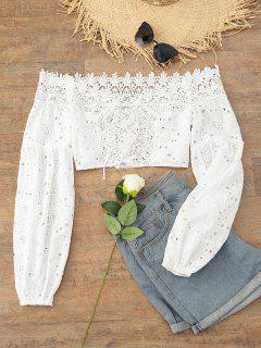Eyelet Off The Shoulder Crop Top - White S