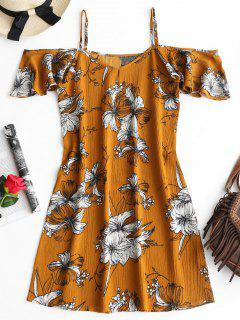 Cold Shoulder Floral Print Cami Dress - Floral Xl