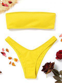 Hohe Schlitz Gerippter Bandeau Bikini Set - Gelb S