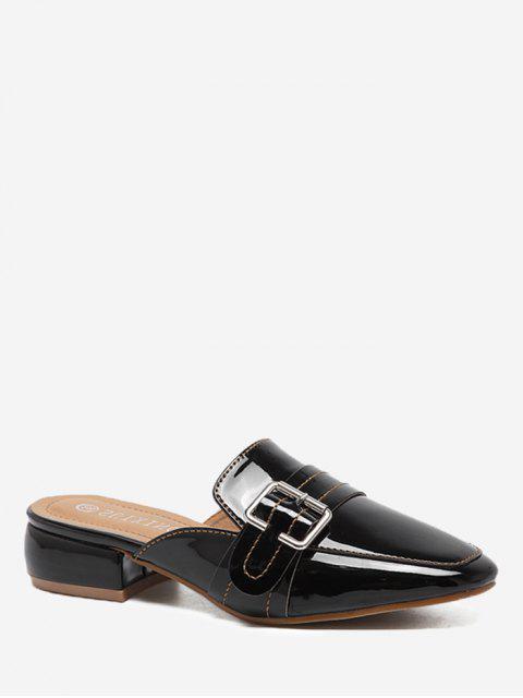 Schnallen Low Heel Mules Schuhe - Schwarz 36 Mobile