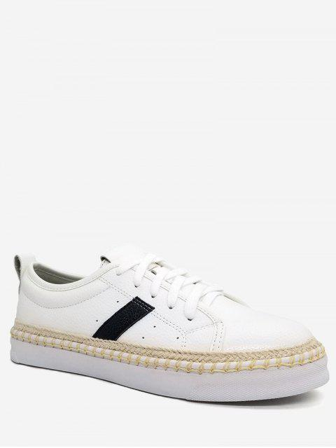 women Espadrille Faux Pearl PU Leather Sneakers - WHITE 37 Mobile