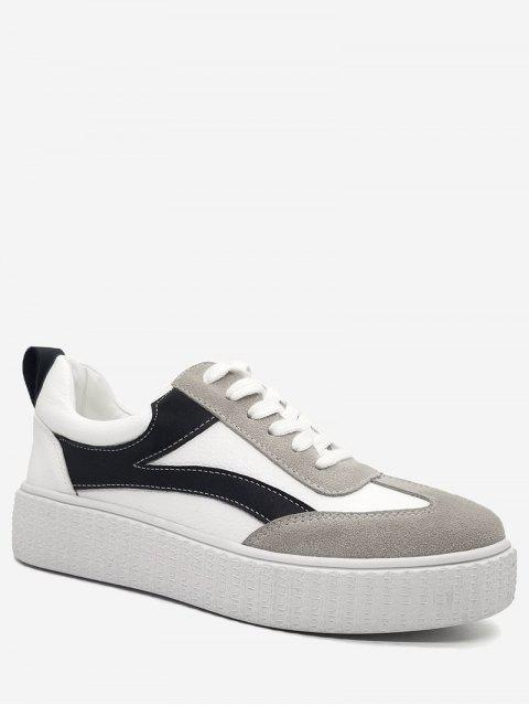 hot Stitching Color Block Sneakers - WHITE 37 Mobile