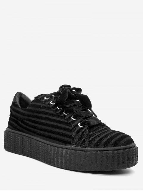 latest Lace Up Faux Suede Sneakers - BLACK 38 Mobile