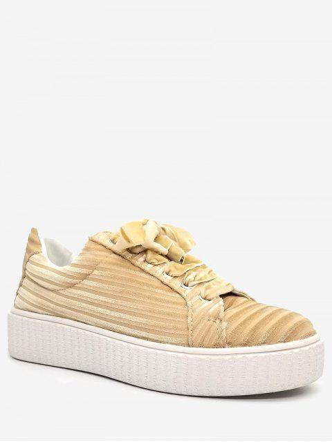 chic Lace Up Faux Suede Sneakers - APRICOT 35 Mobile