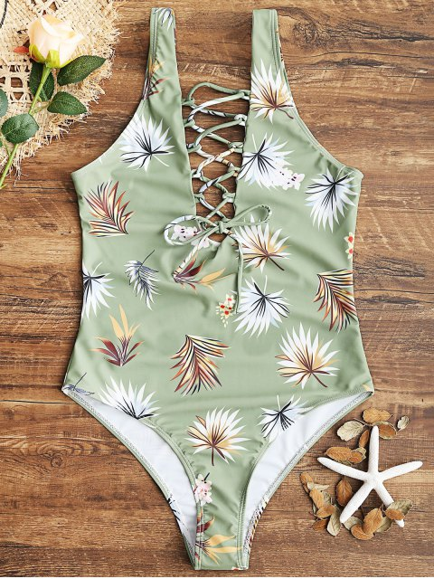 womens Leaf Print High Cut Lace Up Swimwear - LIGHT GREEN S Mobile