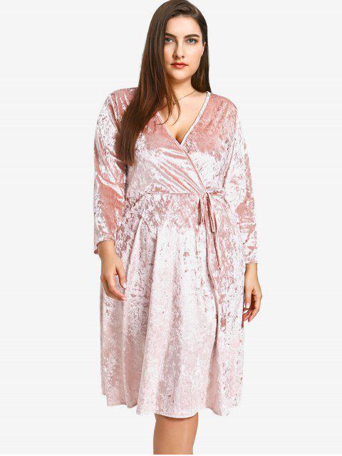 fancy Plus Size Crushed Velvet Dress - PINK 3XL Mobile