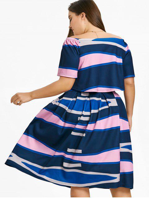 latest Plus Size Color  Block Top with A Line Skirt - MULTICOLOR XL Mobile