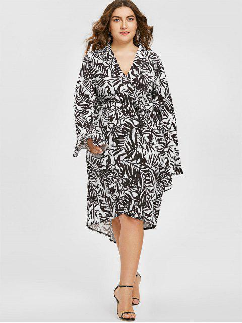 shops Plunging Neck Leaf Print Asymmetric Plus Size Dress - WHITE AND BLACK 5XL Mobile