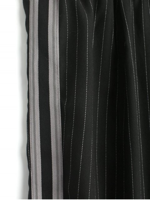 outfit Ribbon Stripes Harem Pants - BLACK L Mobile