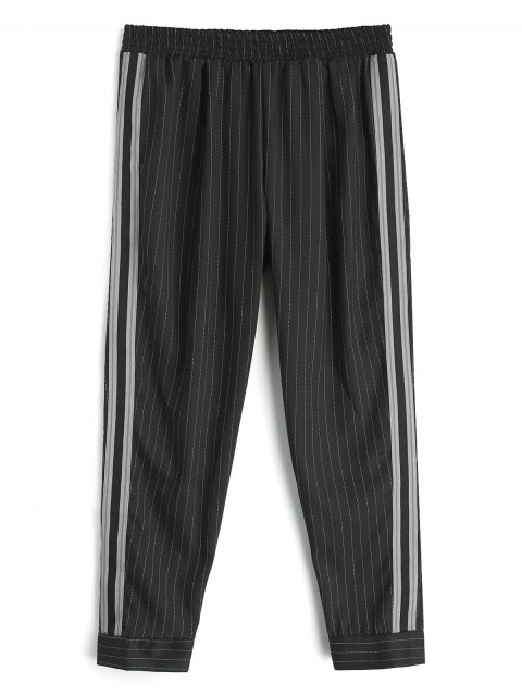 outfit Ribbon Stripes Harem Pants - BLACK L Mobile