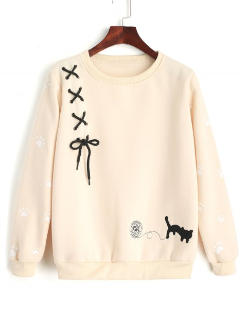 online Criss Cross Ribbon Footprint Sweatshirt - LIGHT APRICOT ONE SIZE Mobile