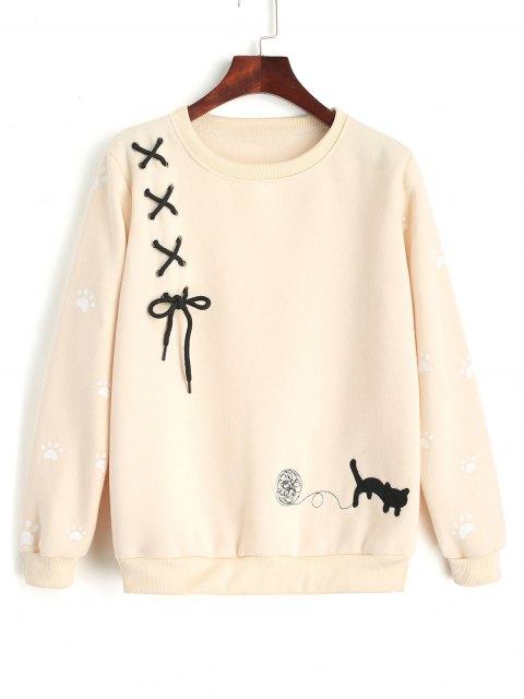 Criss Cross Ribbon Fußabdruck Sweatshirt - Helle Aprikose Eine Größe Mobile