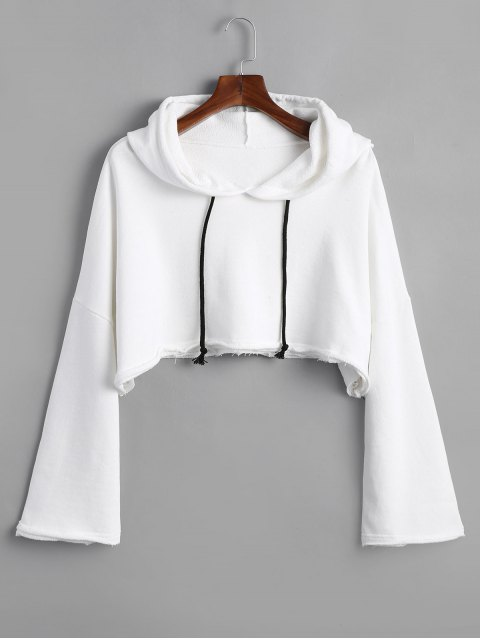 shop Raw Hem Drawstring Cropped Hoodie - WHITE ONE SIZE Mobile