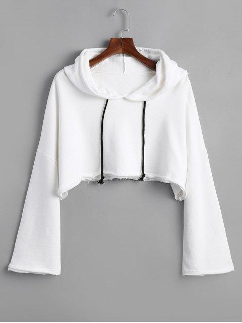 Sweat à Capuche Court à Bordure Usée - Blanc Taille Unique Mobile