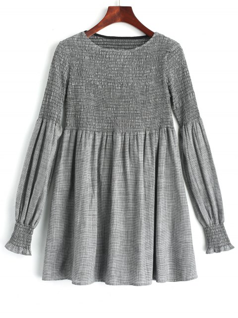 latest Long Sleeve Smocked Plaid Tunic Dress - CHECKED L Mobile