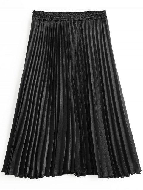 Falda plisada de cintura alta - Negro L Mobile