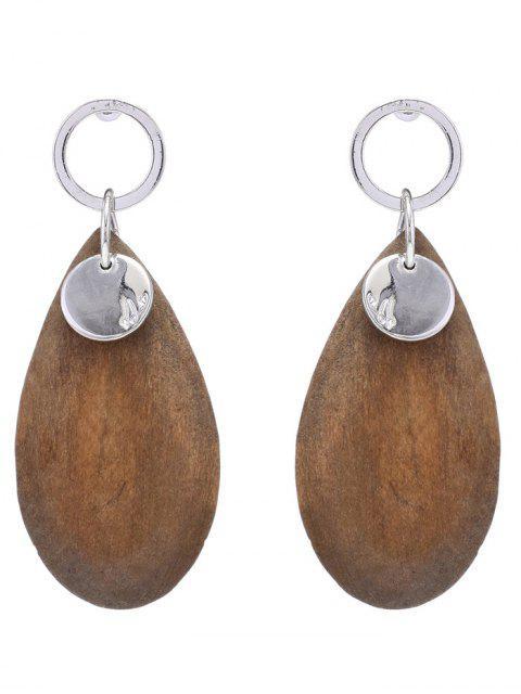 Wassertropfen-Form Holz Tropfen-Ohrringe - Gelb  Mobile