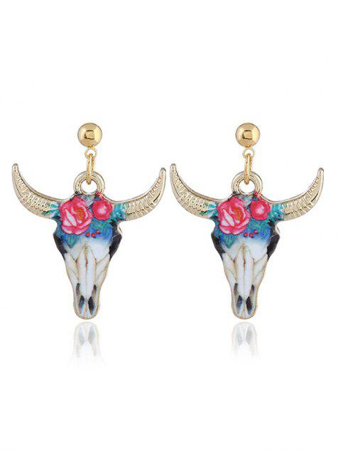 Boho Style Tiny Cow Head Aleación Drop Earrings - Azul y Rojo  Mobile
