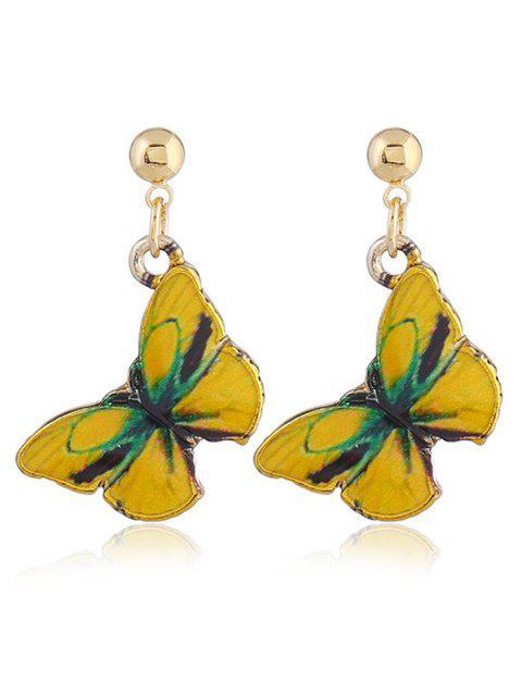 Boucles d'Oreilles Pendantes Motif Papillon Féerique - Jaune  Mobile