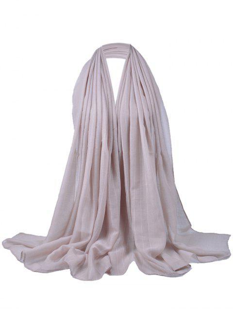 Patrón de rayas suaves adornado bufanda sedosa - Beis  Mobile