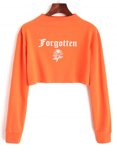 Rose Buchstabe Logo Geschnittenes Sweatshirt - orange pink  L Mobile