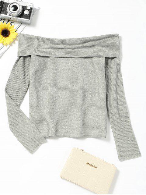 Schulterfreies Langarm-T-Shirt - Grau L Mobile