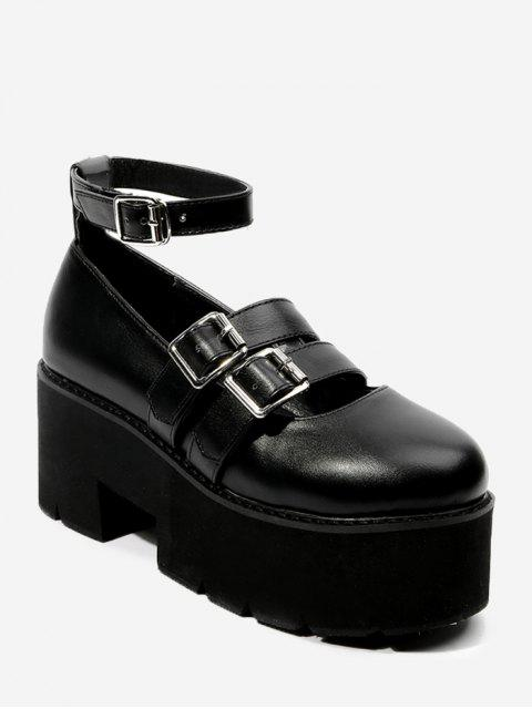 Correa de tobillo, doble plataforma, zapatos de plataforma - Negro 36 Mobile