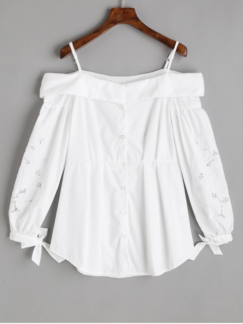 shops Button Up Embroidered Cold Shoulder Top - WHITE M Mobile