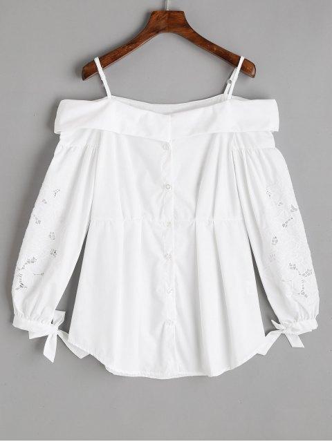 Knopf Oben Besticktes Kalte Schulter Top - Weiß M Mobile