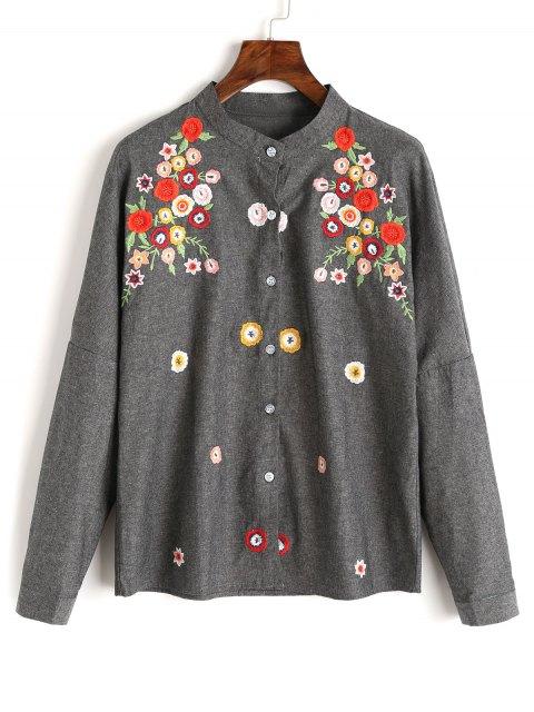 Blumen Besticktes Knopf Unten Shirt - Dunkelgrau S Mobile