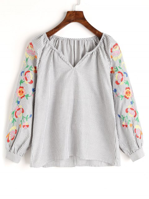 lady Stripes Embroidered Blouse - GRAY S Mobile