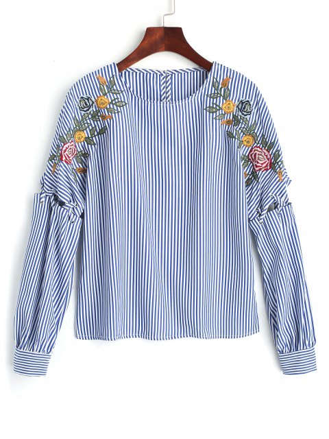 latest Ribbon Embroidered Stripes Blouse - BLUE L Mobile