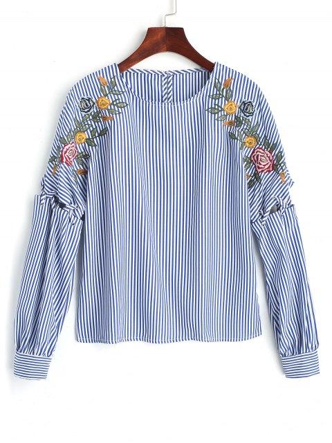 Gerippte Bestickte Streifen Bluse - Blau L Mobile
