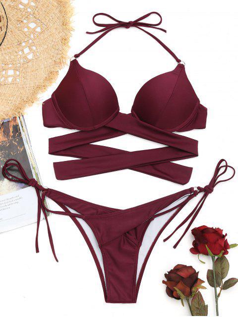 shop Underwire String Wrap Bathing Suit - CLARET M Mobile