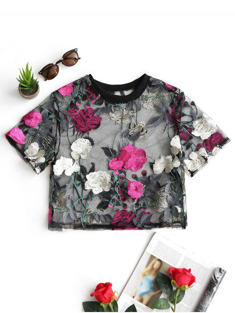 outfit Floral Sheer Crop Mesh Blouse - SANGRIA M Mobile