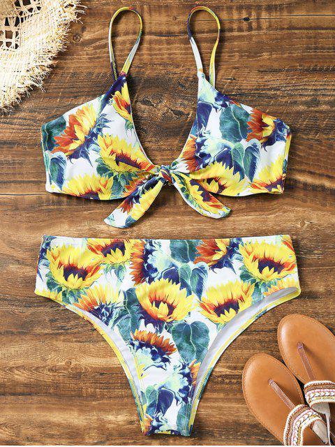 Bikini de corte alto de girasol anudado más el tamaño - Floral XL Mobile