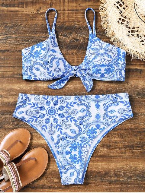 Knotted Porzellan High Cut Plus Size Bikini - Blau & Weiß 2XL Mobile