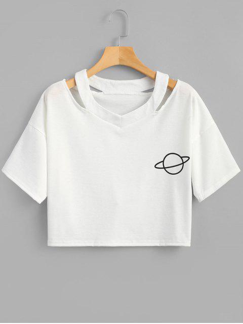 Camiseta corta con estampado de planeta recortado - Blanco S Mobile