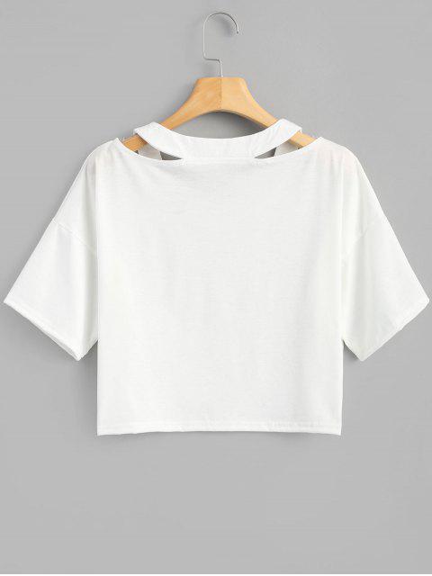 Camiseta corta con estampado de planeta recortado - Blanco M Mobile