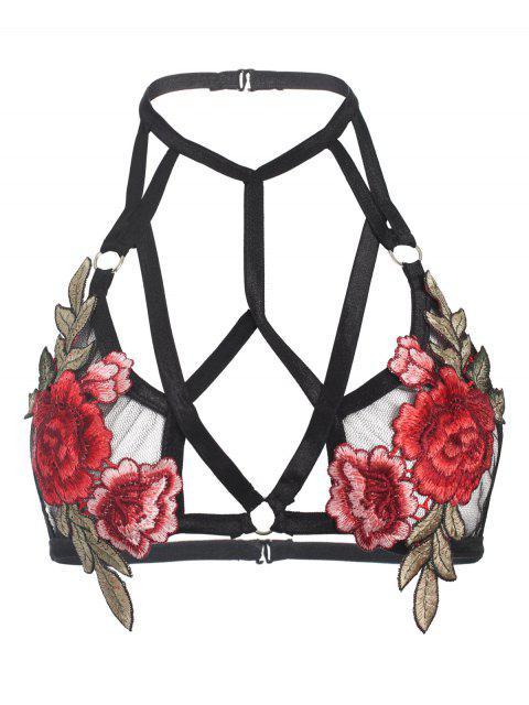 women Floral Applique Strappy Bralette - BLACK M Mobile