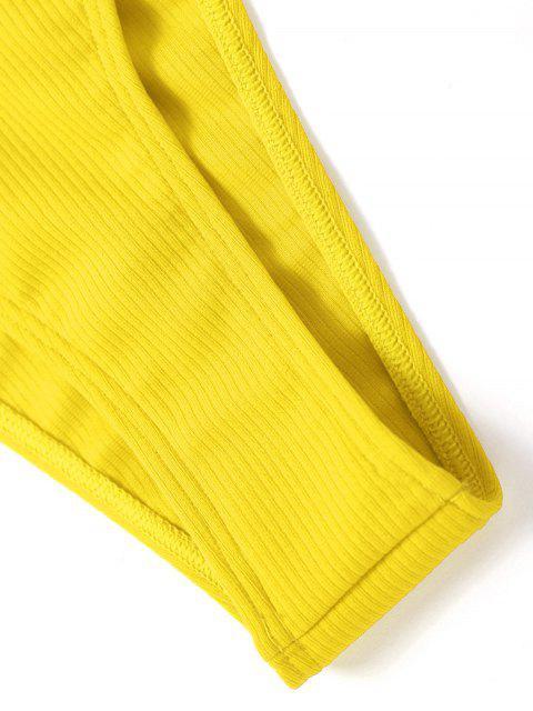 Высокий вырез Бандо Ребристое Бикини в сборе - Жёлтый S Mobile