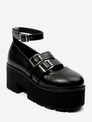 Ankle Strap Dual-buckled Platform Shoes