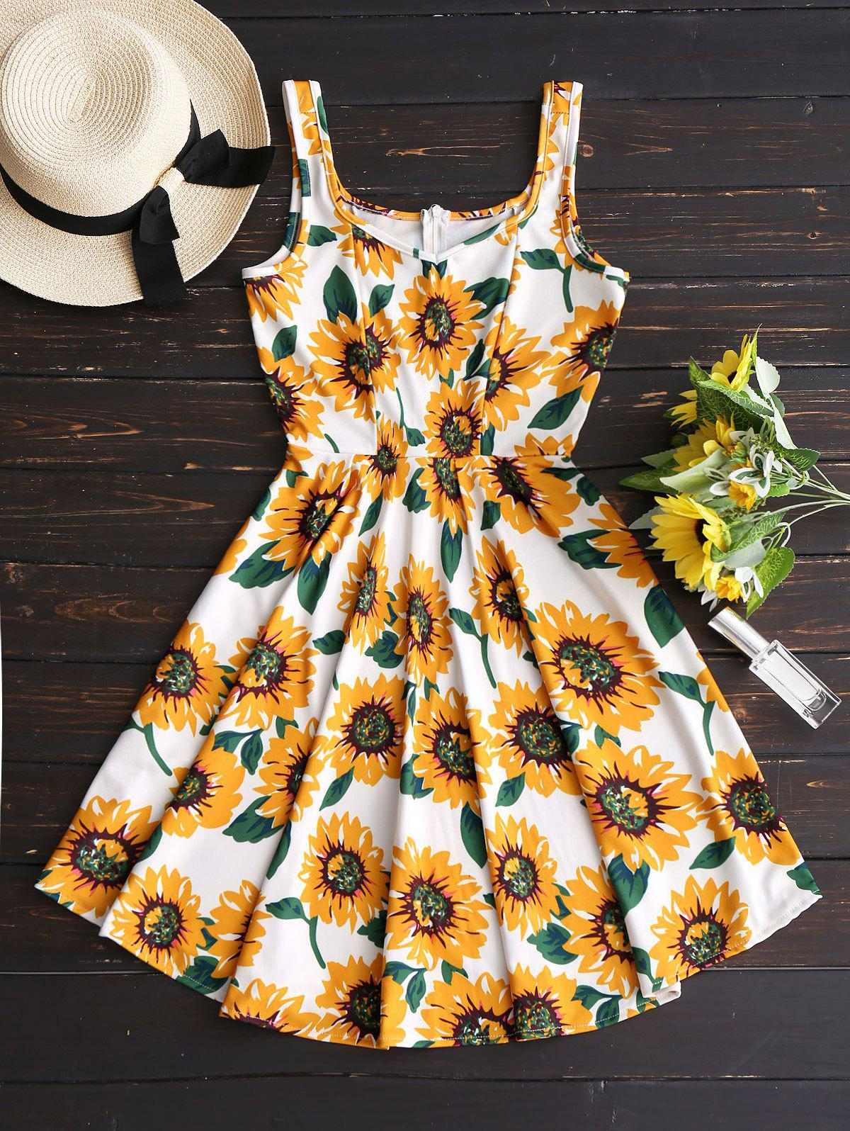 Sunflower Print High Waist Flare Dress