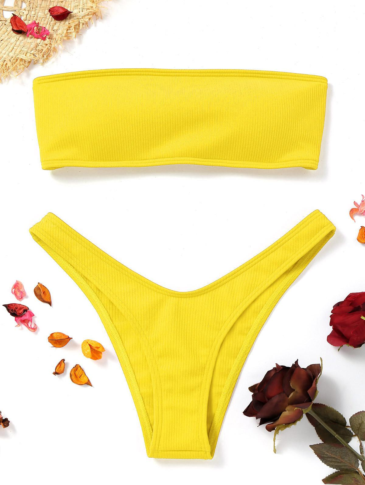 Zaful coupon: High Cut Ribbed Bandeau Bikini Set